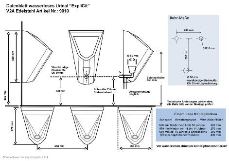 Wasserloses Urinal ExpliCit Montagezeichnung