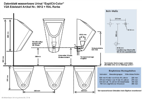 Edelstahl Urinal ExpliCit Color Datenblatt