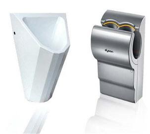 WaterSave Systeme Edelstahl Urinal und Dyson Händetrockner