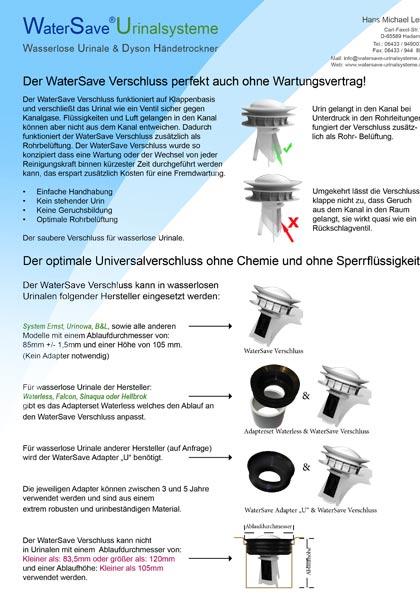 WaterSave Verschluss perfekt auch ohne Wartungsvertrag